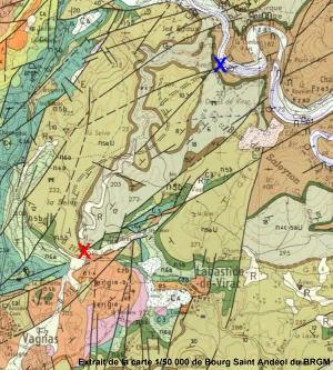 Contexte géologique des pertes de la Goule de Foussoubie (croix rouge)