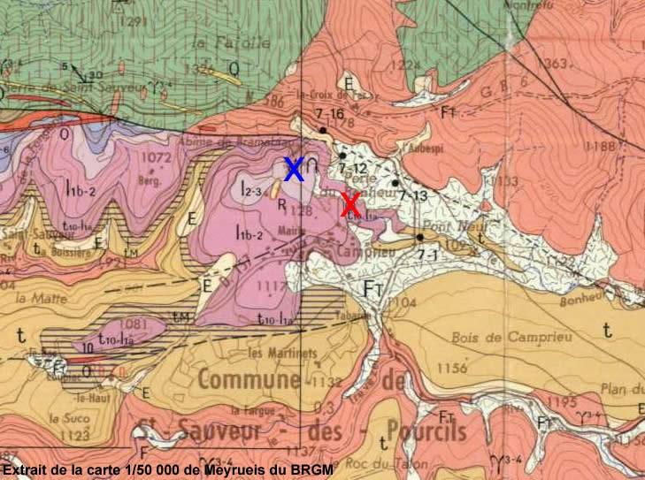 Le cadre géologique de la perte (croix rouge) et de la résurgence (croix bleu) du Bonheur (30)