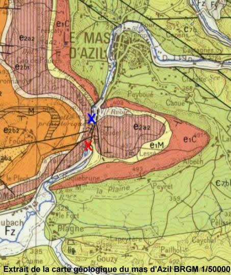 Extrait de la carte géologique du mas d'Azil