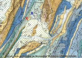 Extrait de la carte géologique de Moirans en Montagne (1/50000 BRGM)