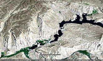 Vue globale des lacs de Band-i-Amir (Province de Bamiyan, Afghanistan)
