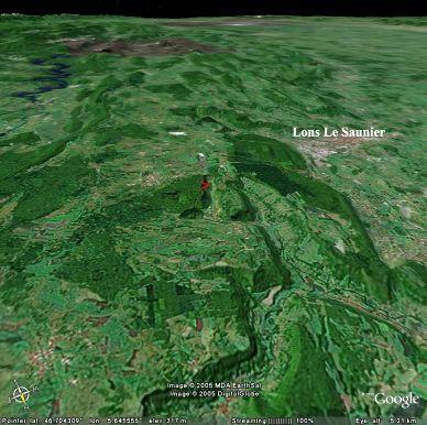 Localisation du ruisseau de Baume les Messieurs sur une image de Google Earth