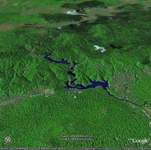 Image Google Earth de la rivière traversant le parc national de Plitvice