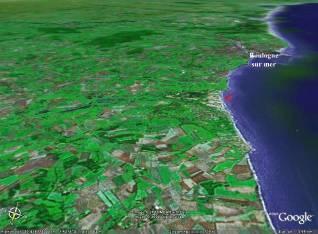 Localisation de la plage des photographies précédentes sur une image Google Earth