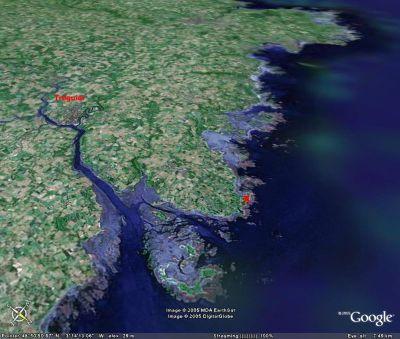 Localisation (croix rouges) des sites des photos 1 et 2