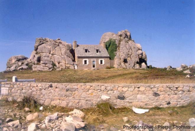 Parties saines de granite mises en relief par l'érosion (Côtes d'Armor)