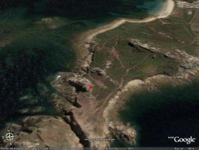 Localisation de l'affleurement de la figure 1 (croix rouge) sur une image Google Earth