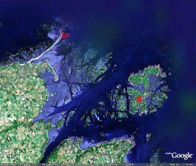 Image Google Earth de la région de l'île de Bréhat (B) et du Sillon de Talbert (ST)