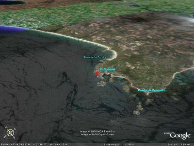 Localisation des rochers de Saint Guénolé (29)