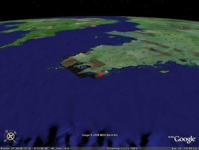 Localisation Google Earth des rochers de Saint Guénolé (29)