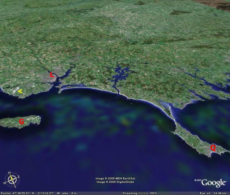 Localisation sur Google Earth des carrières de Ploemer (flèche jaune)