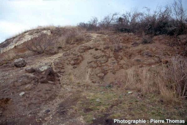 Vue d'ensemble de l'ancienne carrière de basalte de Gergovie (63) avec son altération en boule