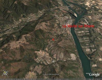 Localisation de l'affleurement de marne jurassique par rapport à la commune de la Voûlte sur Rhône (07)