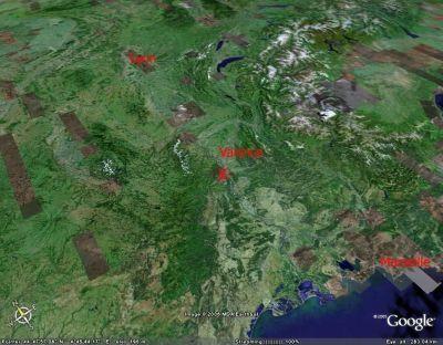 Localisation de l'affleurement de marne jurassique de la Voûlte sur Rhône (07) par rapport à Lyon et Valence