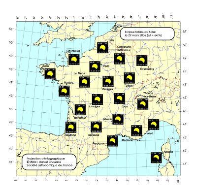 Carte montrant l'aspect du soleil pendant le maximum de l'éclipse. Le maximum a lieu vers 12h 30, un peu avant à l'Ouest et un peu après à l'Est