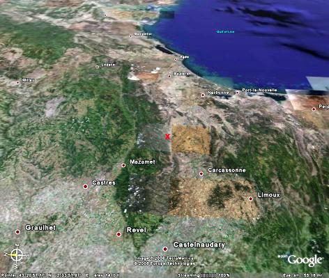 Localisation générale de la Montagne Noire