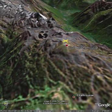 Localisation de l'échantillon à proximité de la Croix de Chamrousse (38)