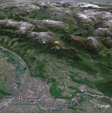 Localisation de Chamrousse par rapport à Grenoble