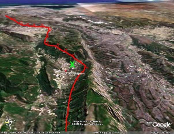 Le site de prélèvement des galets (croix verte)