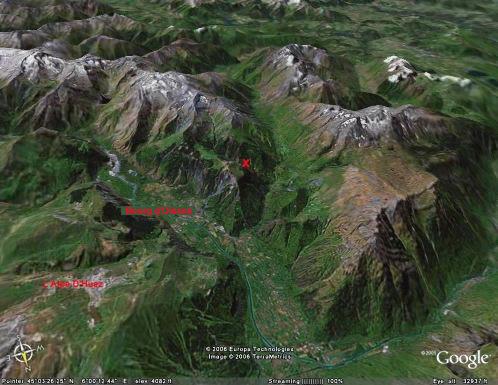 Localisation (croix rouge) du site de prélèvement des échantillons de bélemnites tronquées