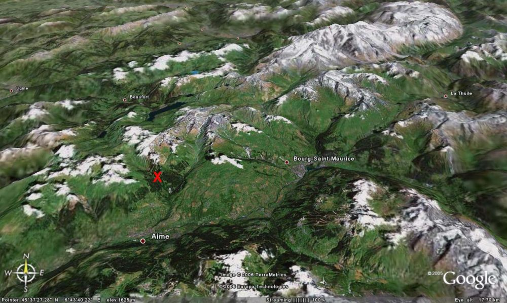 Localisation du site de prélèvement (croix rouge) des échantillons de méta-conglomérat