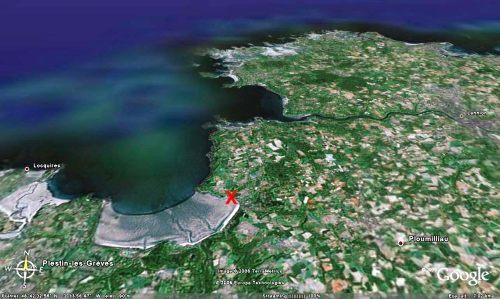 Localisation du site de prélèvement du méta-conglomérat de Saint Michel en grève des figures 1, 2 et 3