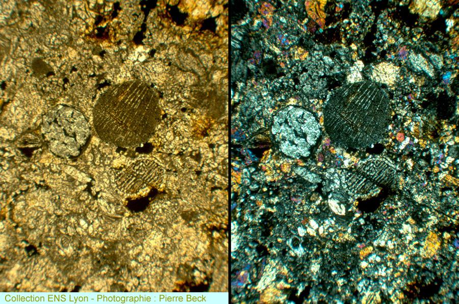 Vues d'ensemble (LPNA et en LPA) sur une micro-faille (veine de choc) recoupant la chondrite ACFER329 [type L4-5]