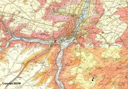 Carte géologique du secteur d'Étampes, composition d'après cartes BRGM au 1/50000