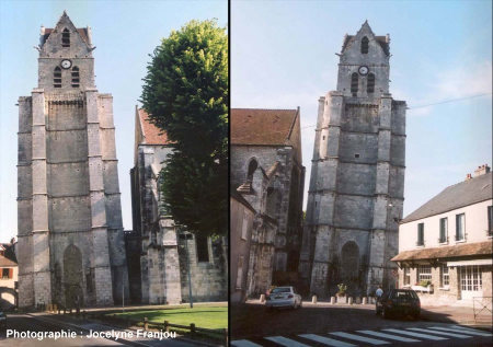 La tour penchée de Saint Martin d'Étampes (91), prise du coté Est (à gauche) et Ouest (à droite)