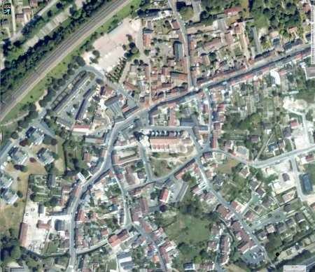 Vue aérienne du centre d'Étampes