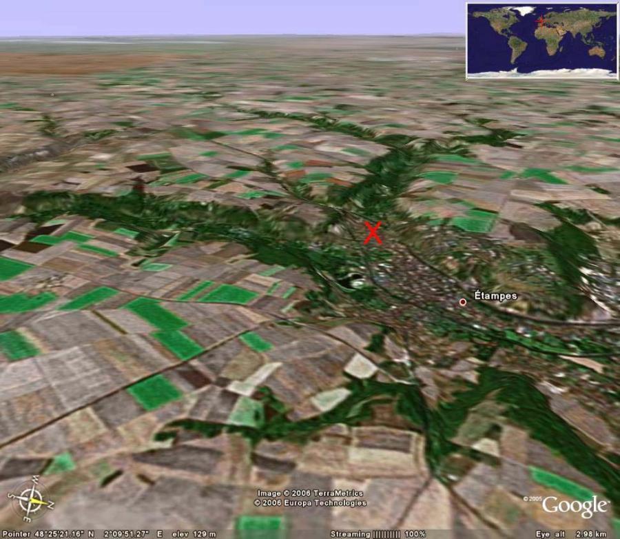 Vue aérienne oblique 3D de la région d'Étampes
