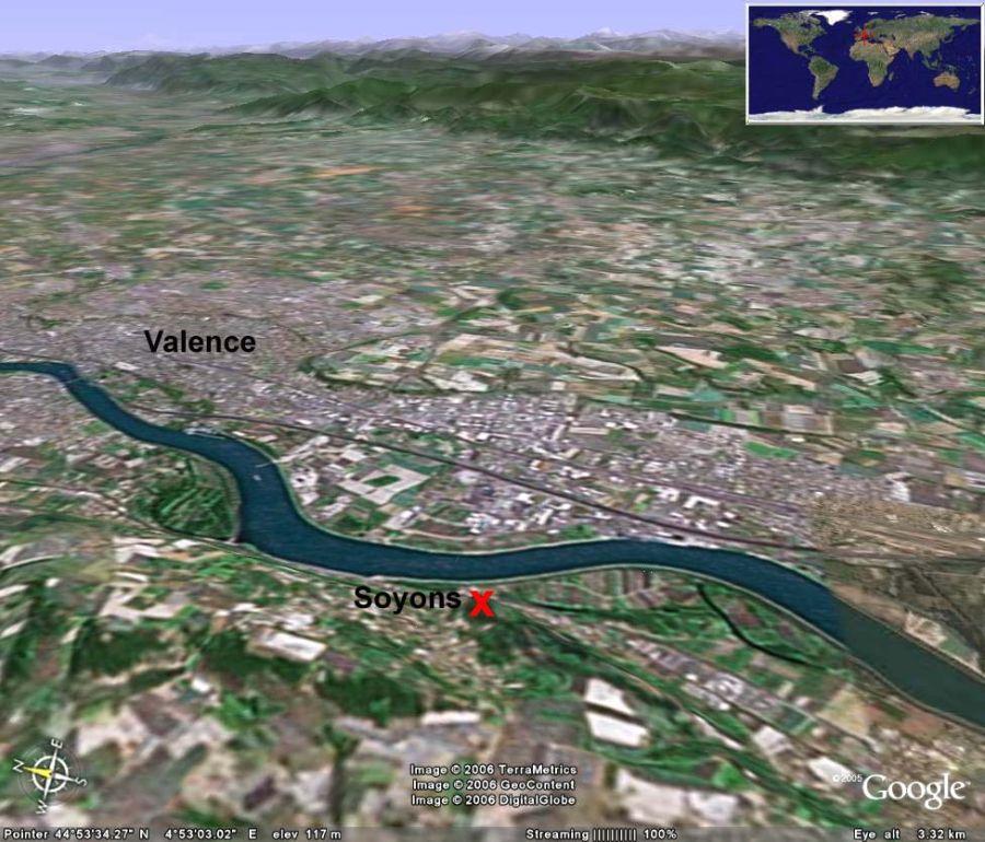Vue aérienne oblique 3D de la région de Soyons