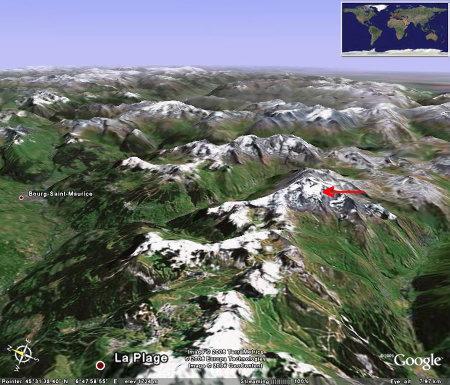 Localisation du glacier de la Chiaupe (Savoie)