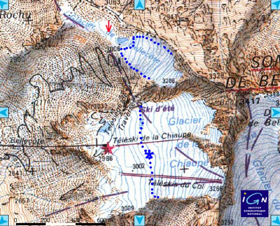 Carte IGN des glaciers de Bellecôte et de la Chiaupe