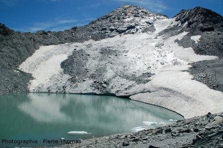 Le glacier de Bellecôte et son lac (Savoie)