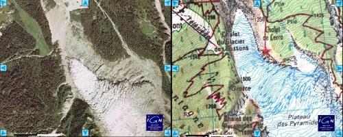 """Glacier des Bossons : comparaison photo récente et fond topo """"ancien"""""""