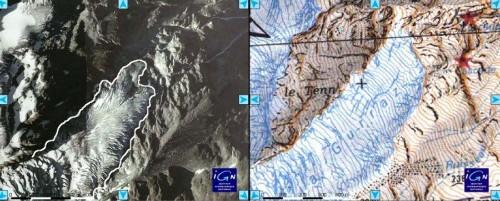 Glacier de la Gurraz : comparaison photo de 2001 et fond topo de 1970-1980