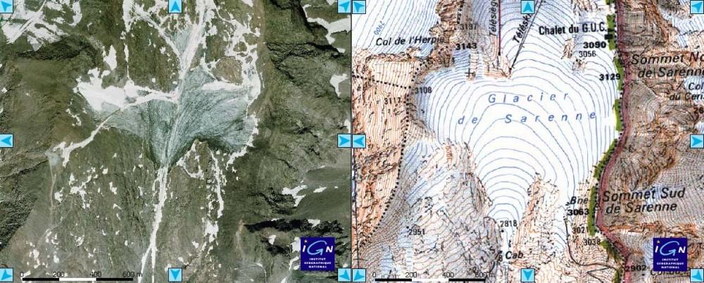 """Glacier de Sarenne : comparaison photo récente et fond topo """"ancien"""""""