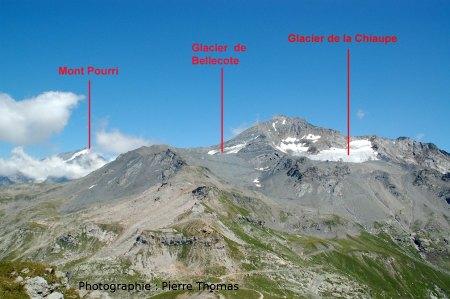 Vue générale des glaciers de Bellecôte, de la Chiaupe et du Mont Pourri