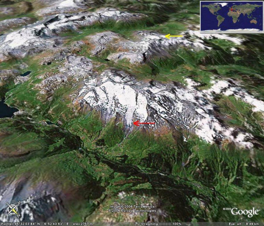 Vue oblique 3D du versant Nord-Est du Mont Pourri (flèche rouge = glacier Sud de la Gurraz, flèche jaune = glacier de la Chiaupe)