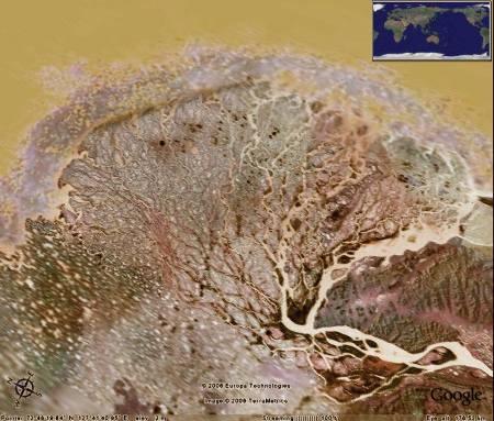 Delta de la Léna, couleurs modifiées pour ressembler au mini-delta du massif de Bellecôte