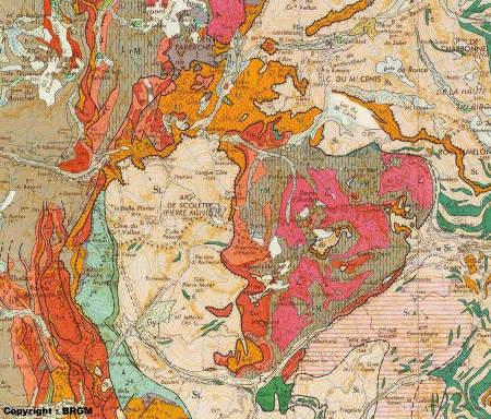 Extrait de la carte d'Annecy au 1/250000 (BRGM)
