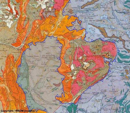 Schéma structural simplifié, carte d'Annecy au 1/250000