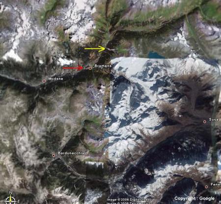 Vue aérienne verticale du secteur étudié, Bramans, Alpes