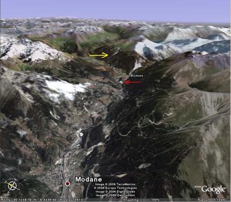 Vue aérienne oblique du secteur étudié, Bramans, Alpes