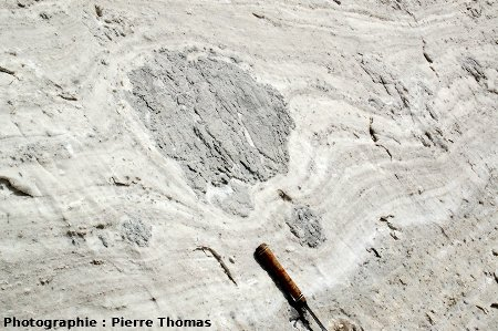 Boudinage et déflection de la schistosité, nappe des gypses, Bramans (Savoie)