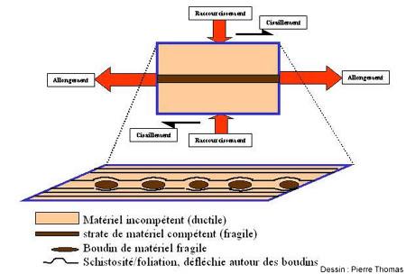 Schéma de formation du boudinage, de la schistosité et de sa déflection par les boudins au cours d'un aplatissement/étirement