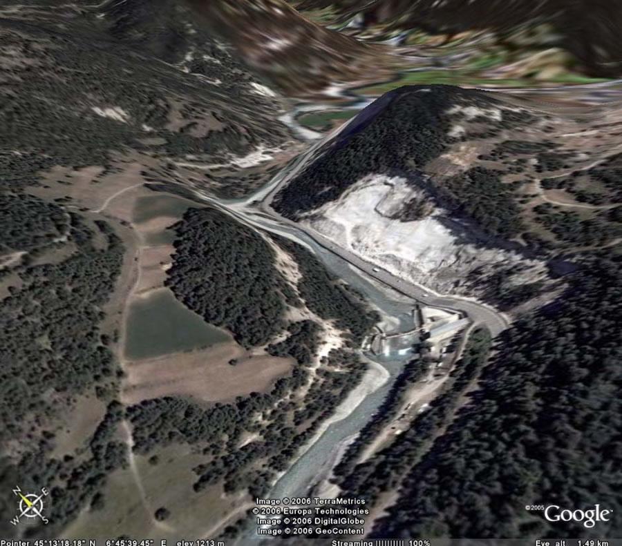 Vue Google Earth (3D haute résolution) de cet affleurement, Bramans (73)