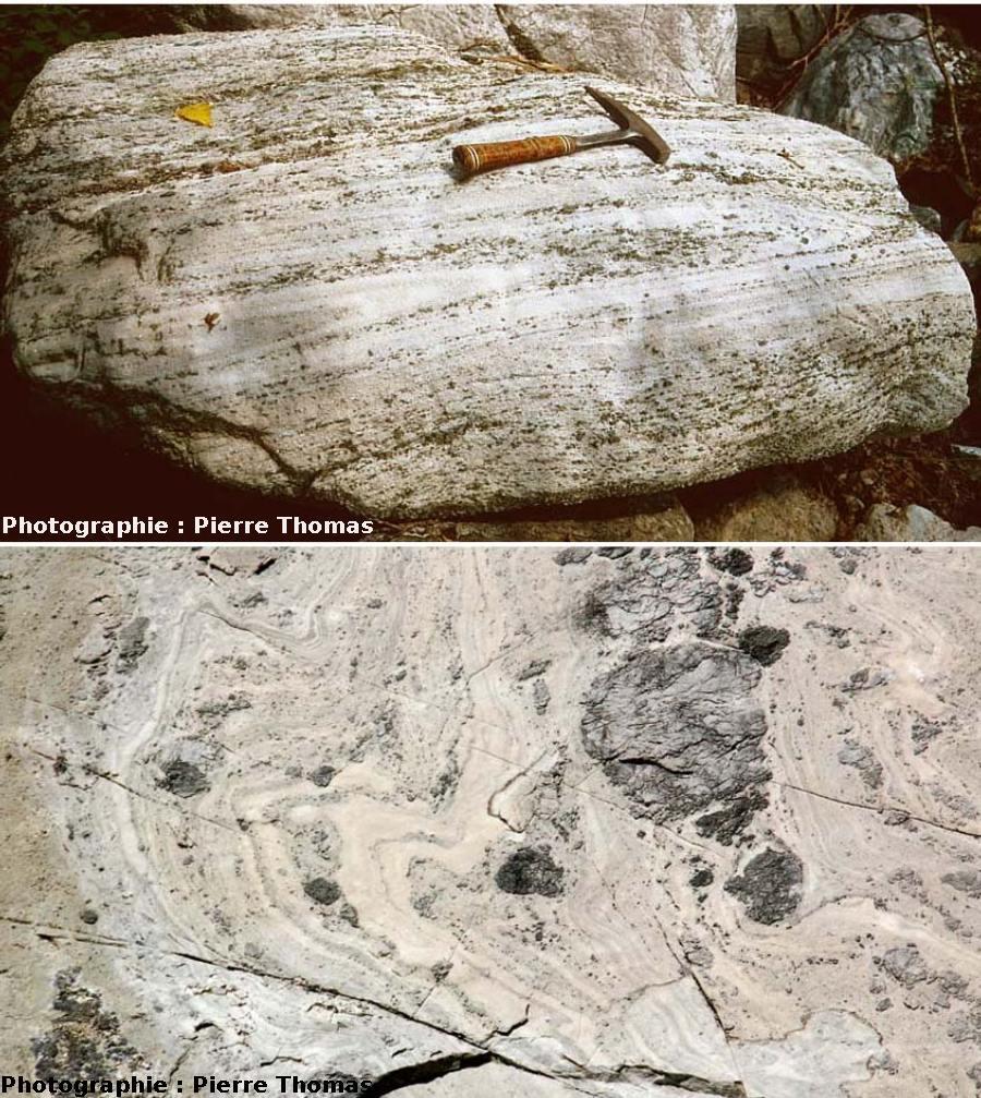 Plis syn-schisteux (en haut) et plis post-schisteux (en bas), nappes des gypses, Bramans (73)