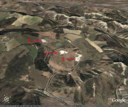 Vue montrant la localisation des 3 groupes de volcans, Nirano (Emilie-Romagne, Italie)